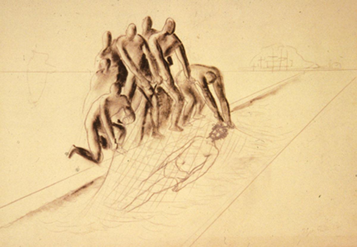 Edgar Ende, Die Fischer, Kohle auf Papier
