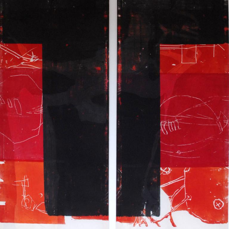 Albert Krüger: D 5 / 07, Diptychon, mehrfarbiger Holzdruck auf Tuch