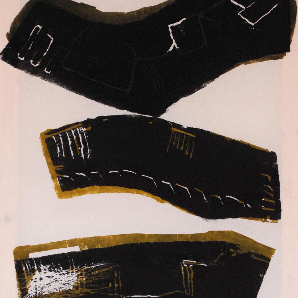 Albert Krüger: Pfade, 4 zweifarbige Holzdrucke auf Tuch