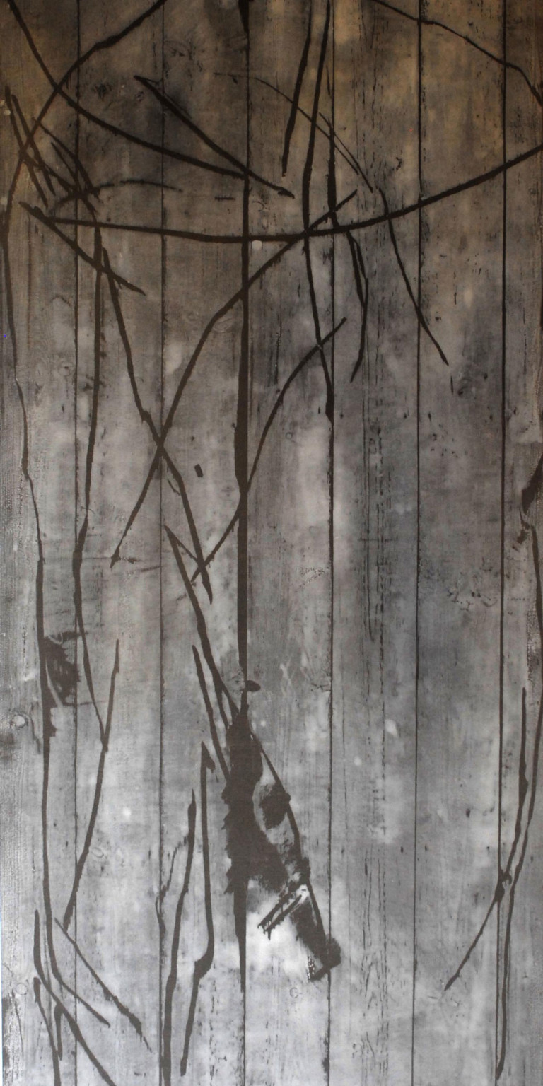 Albert Krüger: Hilfe, Kreuzwegzyklus, Druck 5, Holzdruck auf Tuch