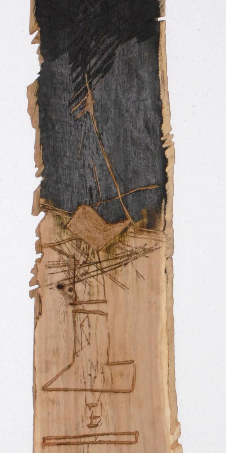 Albert Krüger: BN 3, Reliefbohle, 207 x 30 cm, Eiche