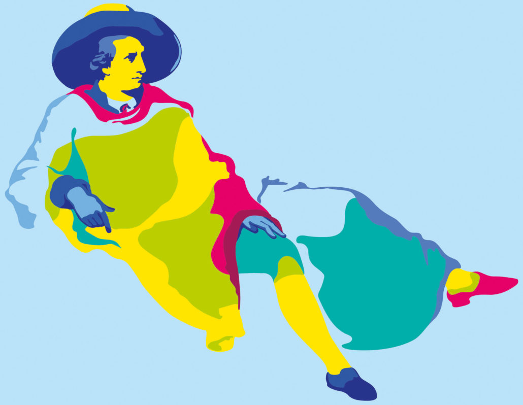 Goethe, Illustration von Maria Gottweiss nach dem Gemälde von Johann Heinrich Wilhelm Tischbein © Kunst- und Ausstellungshalle der Bundesrepublik Deutschland GmbH